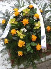 Wiązanka pogrzebowa z kwiatów żywych, wielkość: średnia, róża herbaciana, storczyk zielony, zieleń dekoracyjna, podkład jodłowy, szarfa jedwabna szer. 7 cm druk cyfrowy (+20 zł).