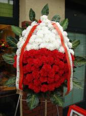 Wieniec pogrzebowy z kwiatów sztucznych, kształt owalny, goździki białe i czarwone, plumosus, liście kordyliny, podklad jodłowy, szarfa satynowa biało-czerwona 10cm, druk komputerowy (+40 zł).