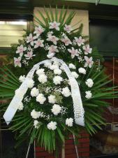Wieniec z żywych kwiatów, wielkość: średni, storczyki białe (Cymbidium), goździki białe, liść palmy, podkład jodłowy, szarfa taśma plastikowa, pismo ręczne.