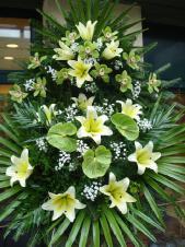 Wieniec z żywych kwiatów, wielkość: średni, storczyki zielone (Cymbidium), lilie kremowe (Conca D'Or), anthurium zielone (Midori), liść palmy, podkład jodłowy, zieleń dekoracyjna.