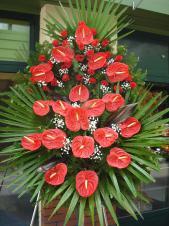 Wieniec z kwiatów, wielkość: duży, róże czerwone (sztuczna), anthurium czerwone (naturalne), liść palmy, kordylina, podkład jodłowy, zieleń dekoracyjna.