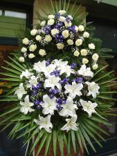 Wieniec pogrzebowy z żywych kwiatów, wielkość: bardzo duży, róże białe (Akito), lilie białe (Casablanca), irysy fioletowe, liść palmy, podkład jodłowy, zieleń dekoracyjna.
