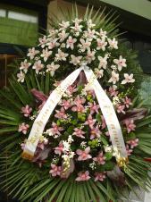 Wieniec pogrzebowy z żywych kwiatów, wielkość: bardzo duży, storczyki białe i różowe (Cymbidium), liść palmy, podkład jodłowy, zieleń dekoracyjna.