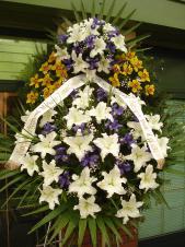 Wieniec pogrzebowy z kwiatów żywych, wielkość: bardzo duży, lilie białe (Casablanca), irys fioletowy, storczyk złoty (Cymbidium), liść palmy, podkład jodłowy, zieleń dekoracyjna, szarfa satynowa 7cm, druk komputerowy.