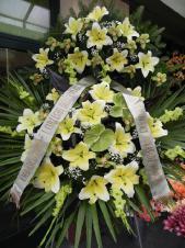 Wieniec pogrzebowy z żywych kwiatów, wielkość: bardzo duży, lilie kremowe (Conca D'or), anthurium zielone (Midori), storczyki zielone (Cymbidium), mieczyk zielony, liść palmy, podkład jodłowy, zieleń dekoracyjna, szarfa satynowa kolor pistacjowy 10cm, druk komputerowy.