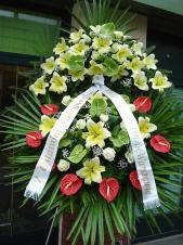 Wieniec pogrzebowy z żywych kwiatów, wielkość: bardzo duży, lilie kremowe (Conca D'or), anthurium czerwone i zielone, liście palmy, podkład jodłowy, zieleń dekoracyjna, szarfa satynowa 10cm, druk komputerowy.